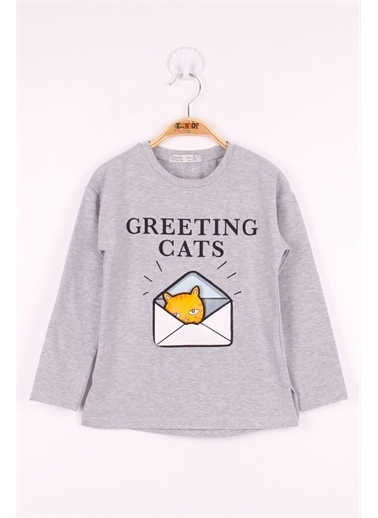 Toontoy Kids Toontoy Kız Çocuk Kedi Baskılı T-Shirt Renkli